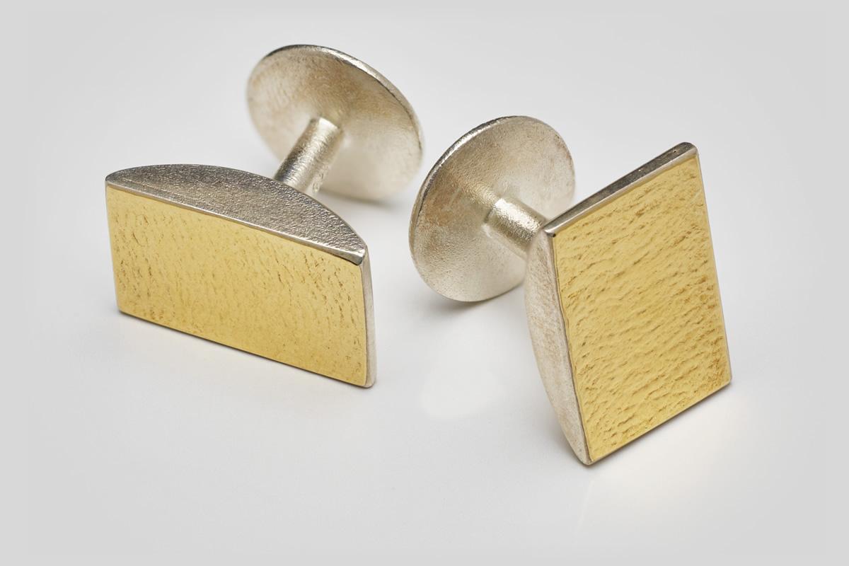 Manschettenknöpfe Silber mit Gold