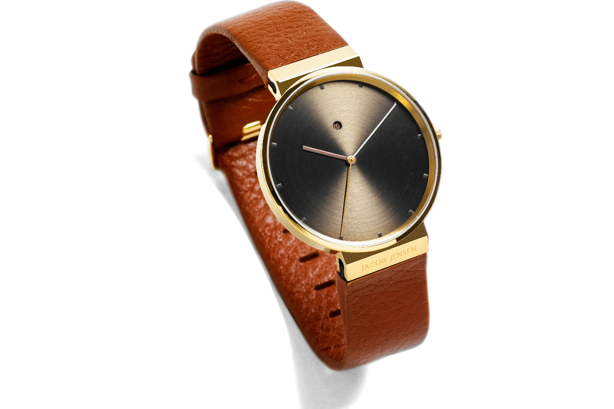 Uhr Dimension Gold Jacob Jensen braun