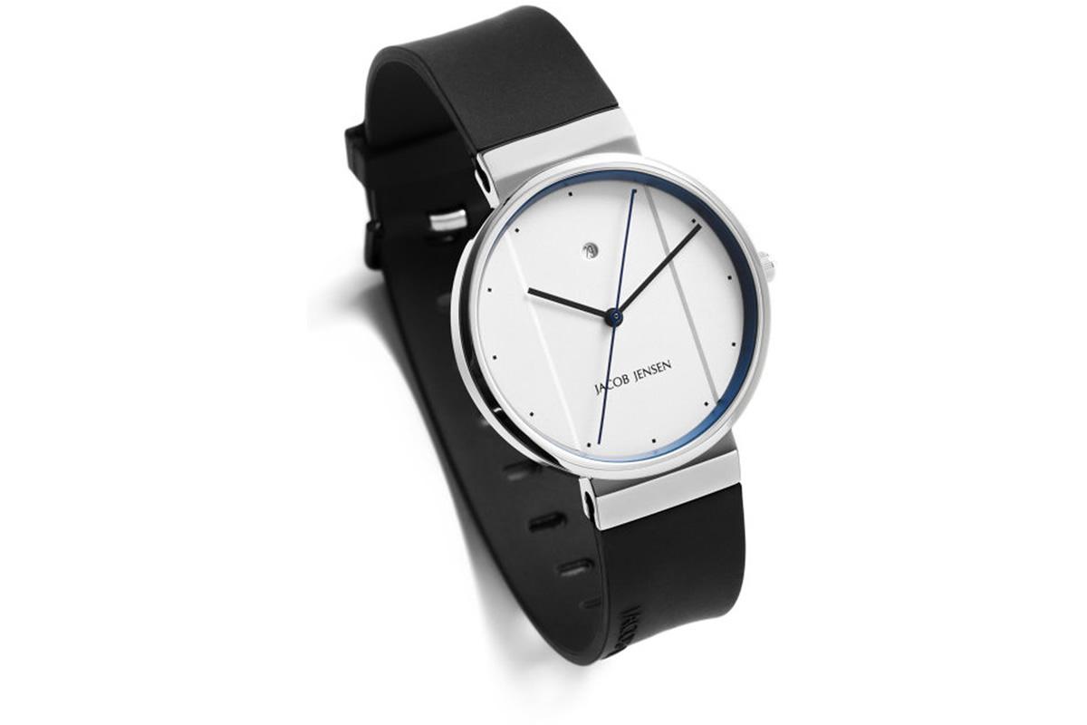 Uhr New Series Jacob Jensen weiss blau