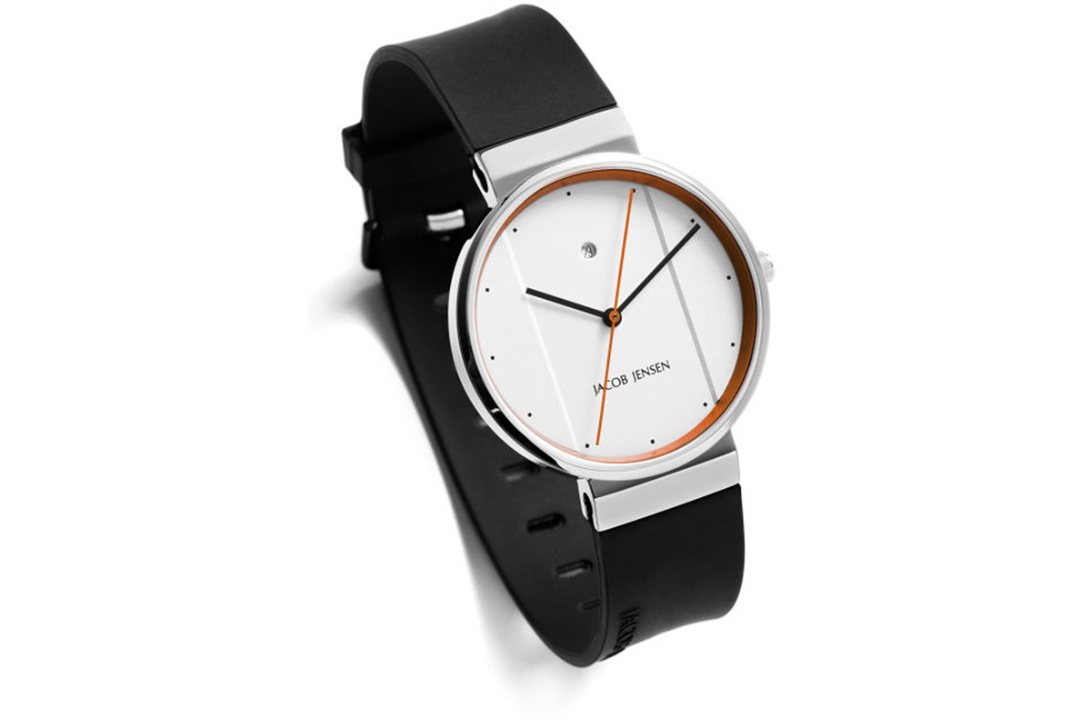 Uhr New Series Jacob Jensen weiss orange