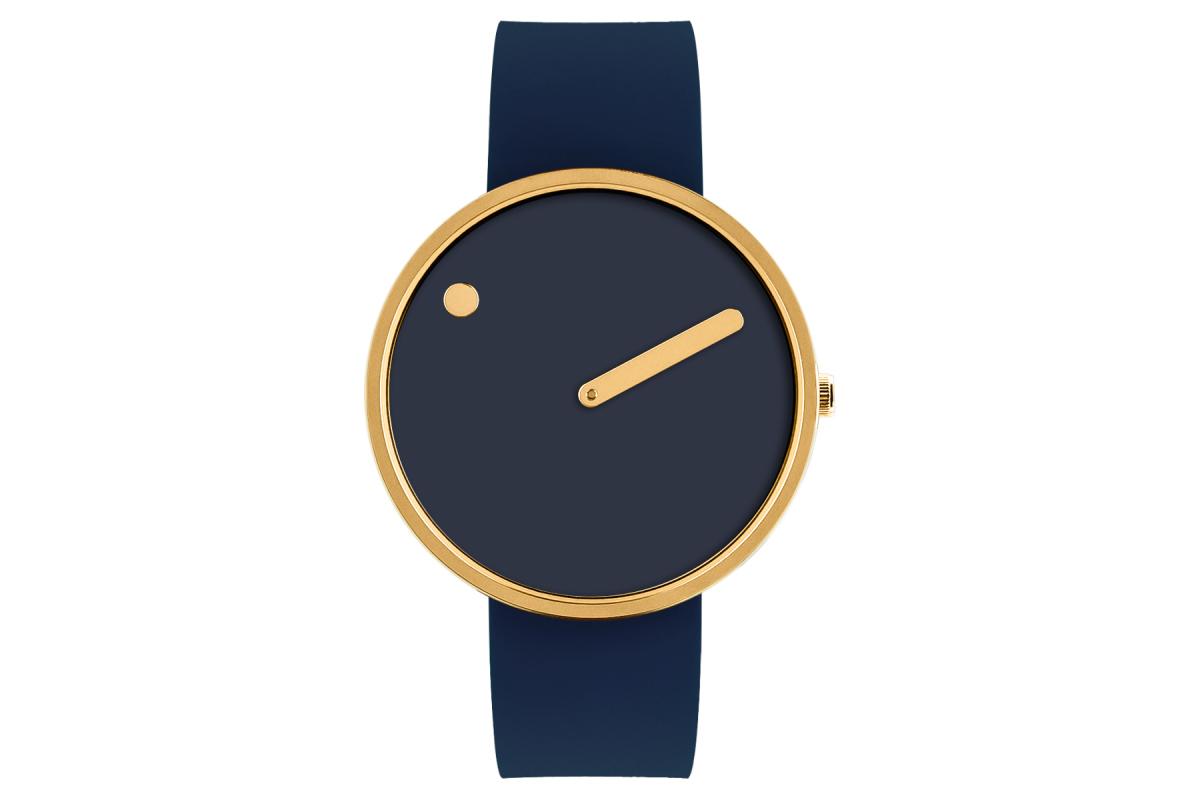 PICTO Designeruhr - Mitternachtsblau / Gold poliert - 40mm