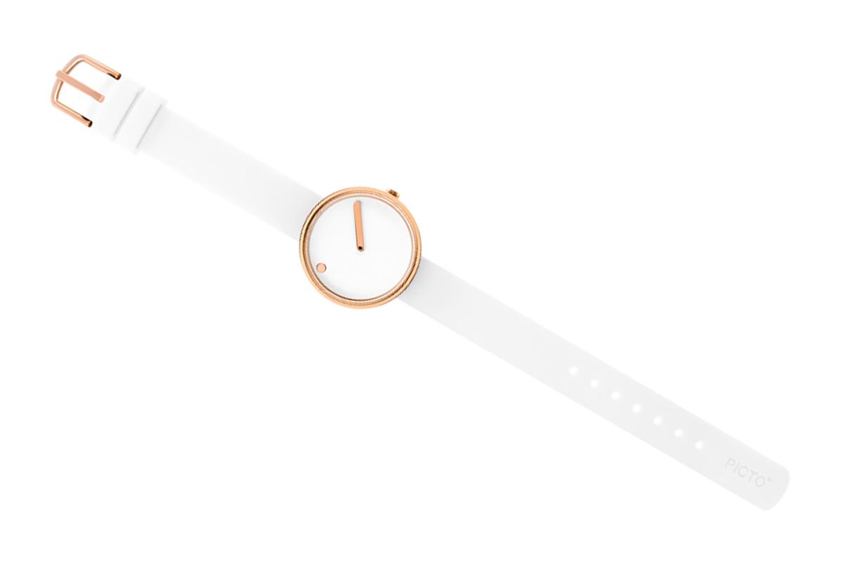 PICTO Designeruhr - Weiß / Rosé-Gold - 30mm